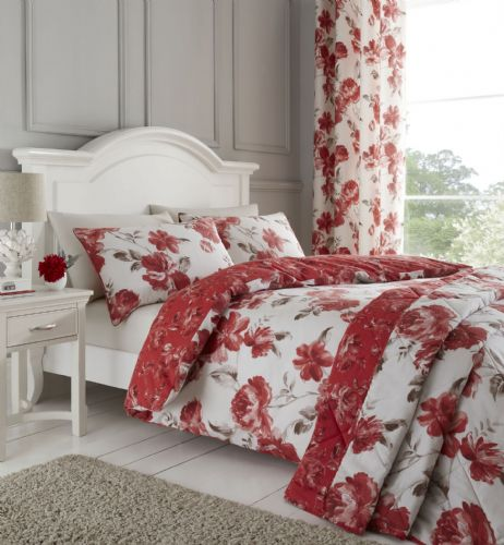 Catherine Lansfield Painted Floral Red Bedding Set